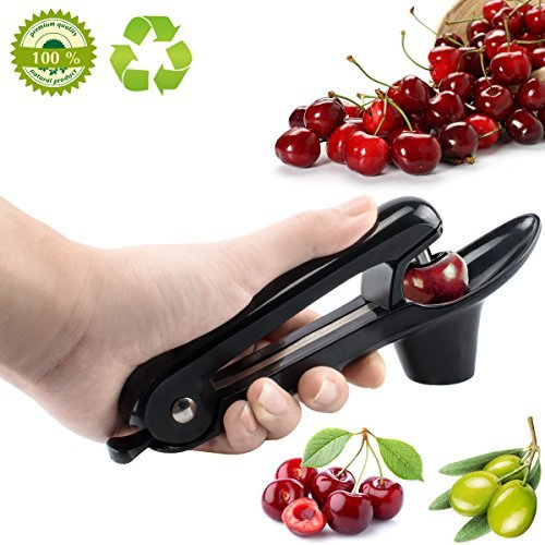 Cherry Pitter Tool,Cherry Olive Corer Pitter Silicone Grips Design Makes Juice No Splash (Black)