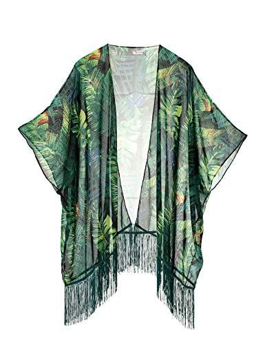 Soul Young Mujeres Impresión Floral Gasa Kimono - Talla Extra Ligero Elegante Playa Vestido Bikini Encubrimiento
