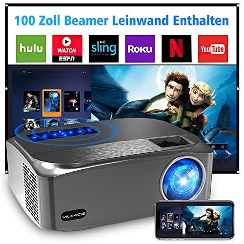 VILINICE Native Proyector de 7500 lúmenes, 1080P, Full HD, compatible con 4 K, LED, para exteriores, cine en casa de 300 pulgadas, compatible con HDMI, USB, TV&Stick ,...