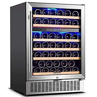 ?Upgraded?Wine Cooler Dual Zone,Aobosi 24 inch 51 Bottle Wine refrigerator Built-in or Freestanding with Fashion Look,Quick and Silent Cooling System,Double-Layer Tempered Glass Door,Front Ventilation