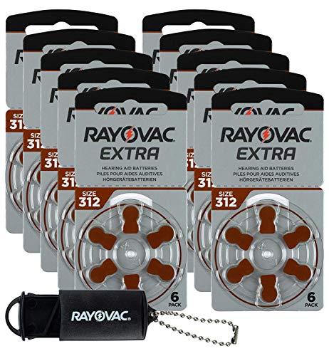 Rayovac Advance Extra Type 312 PR41 Lot de 60 piles pour appareils auditifs, amplificateurs auditifs, aide auditive et boîte de rangement Marron