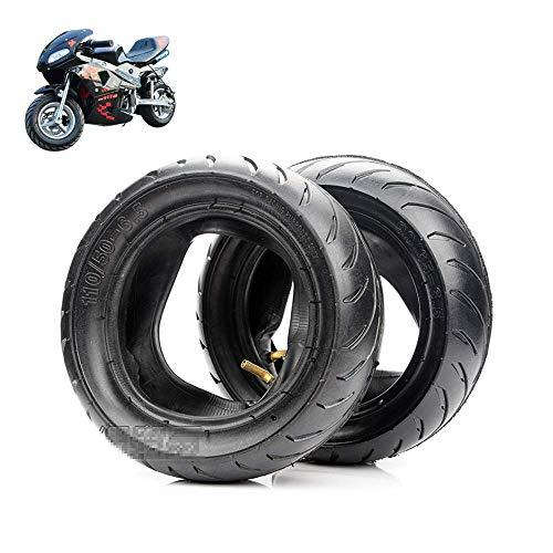 SHKUU Neumáticos Scooter eléctrico, 90/65-6,5/110/50-6,5 Neumáticos Antideslizantes Resistentes Desgaste, adecuados para Accesorios neumáticos Mini Motocicleta/Coche Deportivo pequeño 49 CC