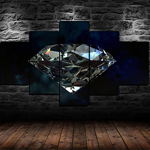 Goiiivd Large 5 Piece Canvas Wall Art Canvas Paintings Pictures Living Room Modern Artwork Canvas Prints Paintings Biggest Diamond In The World Hd Printed Modular Poster Frame