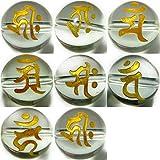 【hinryo】 梵字 8粒セット 水晶 クリスタル 彫り 天然石 パワーストーン (g3-286Y 10mm 水晶 8粒セット)