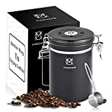 Magicafé Airtight Coffee Container Canister - Co2 Valve Airscape Coffee Bean Grounds Storage Container Large Black 21oz