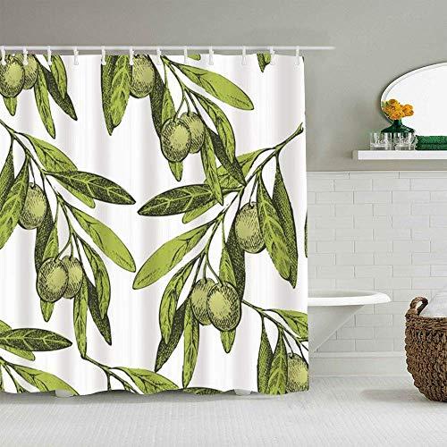 N\A Duschvorhang Essen Oliven Oliven Natur Up Food Gemüsegetränk Gezeichnetes Blumenmuster Modisches ges&es Muster wasserdichte Badvorhänge Haken enthalten - Badezimmerideen