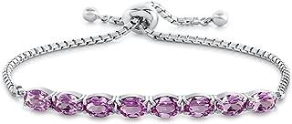 Finejewelers Sterling Silver Slider Chain Adjustable Bracelet with 8 Oval Stones