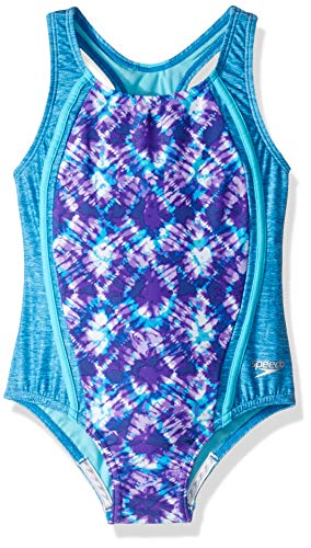 Speedo Girl's Swimsuit One Piece Thick Strap Racer Back Printed - Manufacturer Discontinued