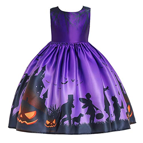 Why Should You Buy jin&Co Toddler Teen Kids Girls Short Sleeve Printed Party Dress Halloween Costu...
