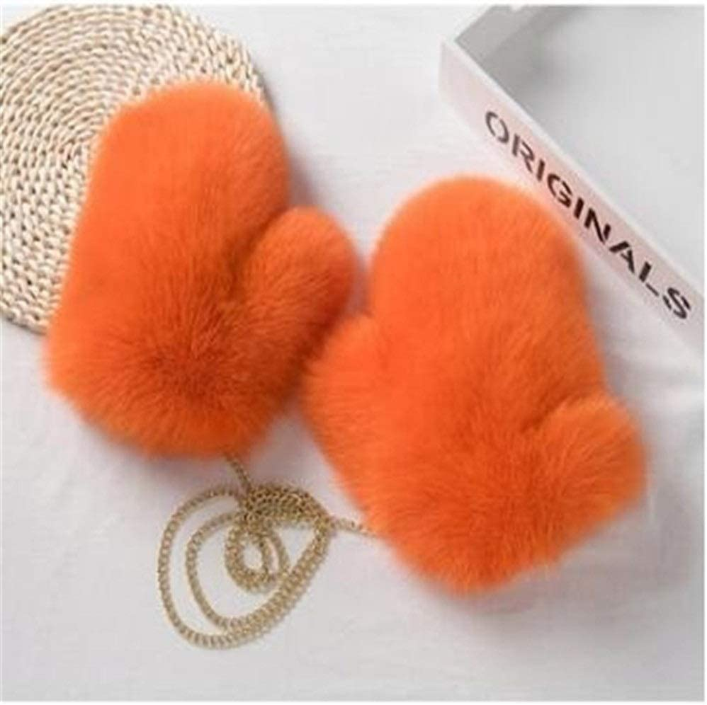 HABADOG Winter Women Gloves Real Glove Knitted Ladies Mittens Thick Colorful Warm Female Gloves (Color : Orange, Gloves Size : One Size)