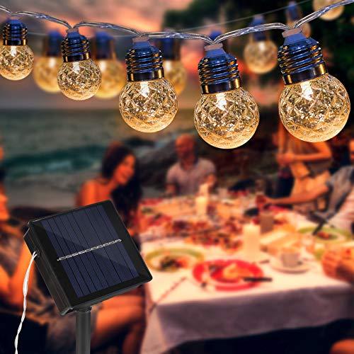Lichterkette Außen Solar, 6M 20er Warmweiß Led Solar Lichterkette Aussen, HOSPAOP IP65 Wasserdicht Solar Lichterkette, Balkon Lichterkette für Party, Garden, Balkon, Terrasse, Zelt, Café, Innen