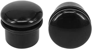 """E-Fashion Store 4g-11/16"""" Single Flare Ear Plugs Natural Black Stone with Silicone O-Ring Ear Gauges Expander Piercing"""