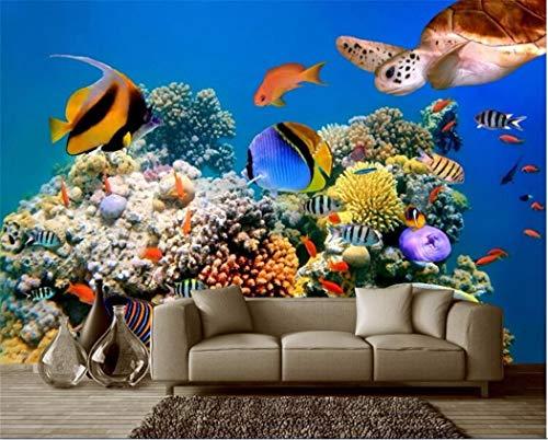 Tapeten 3D Wallpaper Benutzerdefinierte Wandbild Wandaufkleber Tiefsee Tropische Aquarium Fisch Meeresschildkröten Foto 3D Wandbilder Tapete