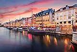 Kopenhagen City Nacht Art XXL Wandbild Kunstdruck Foto