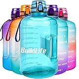 BuildLife Botella de agua de boca ancha de 2,2 L con tiempos para beber, gran capacidad libre de BPA...