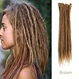AOSOME 20inch Pack of 20 Dreadlock Hair Extension Handmade Synthetic Hair Locs Reggae Hair,Brown Color