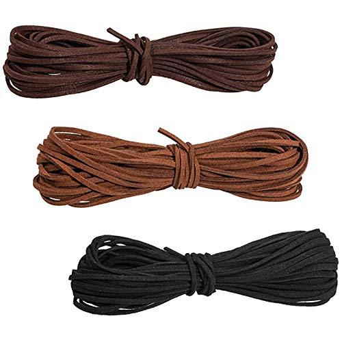 3 Piezas Cordones de Cuero, Cordón de Ante Falso Cuerda de Cuero, Cordón de Cuero Trenzado, para Collar de Tejido, Pulsera de Bricolaje, Decoración de Atrapasueños(Negro, Marrón, Marrón Oscuro)