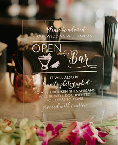 Open Bar Wedding Sign, Acrylic Cocktails Sign for Wedding, Wedding Table Sign