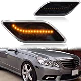 Smoke Lens Amber LED Front Bumper Side Marker Light Kits for 2010-2013 Mercedes-Benz W212 E-Class Pre-LCI E350 E550 E63 AMG Sedan/Wagon Driver Fender Turn Signal Sidemarker Lamps Replacements