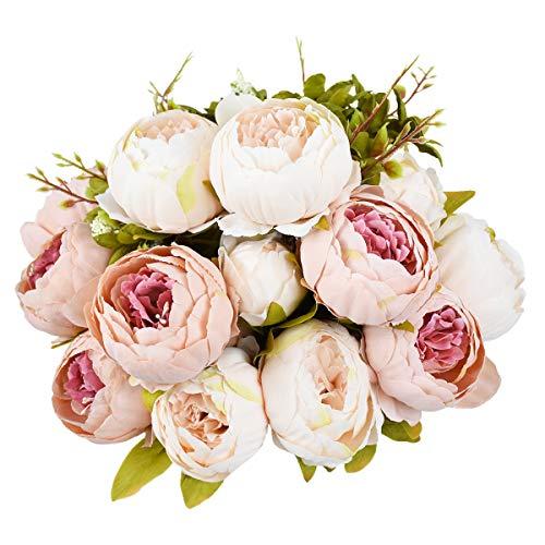 Sunm Boutique 2 Pcs Artificial Peony Silk Flower Leaf Home Bridal Wedding Party Festival Bar Decor (Pink, 2 Pcs)