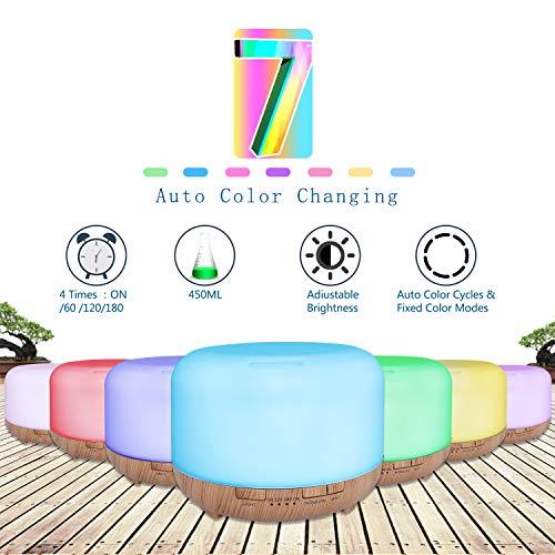 SUPTEMPO Diffusore di Oli Essenziali, 450ml Diffusore di Aromi Umidificatore Diffusore Ambiente con Luce Notturna a 7 Colori LED, Timer, Controllo della Nebbia, Senz'acqua Spegnimento Automatico