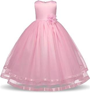 GFDGG ノースリーブフラワーリボントリムファンシーメッシュチュールチュチュドレスホリデープリンセスドレスページェント夜会服の女の子フォーマルウエディングウェディングドレス女の子のドレス子供の誕生日パーティードレス (色 : ピンク, サイズ : 160)