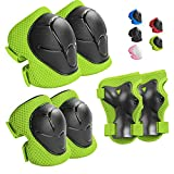 Wemfg Kids Protective Gear Set Knee Pads for Kids 3-8 Years Toddler Knee and Elbow Pads with Wrist Guards 3 in 1 for Skating Cycling Bike Rollerblading Scooter(Green)