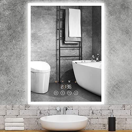 GROOFOO LED Badspiegel, 50x70cm Badezimmerspiegel mit Beleuchtung, mit Touchschalter Dimmbarer Dekorative Wandspiegel, Szenenbeleuchtungssimulationen, Zeitanzeige Antibeschlag Kosmetikspiegel