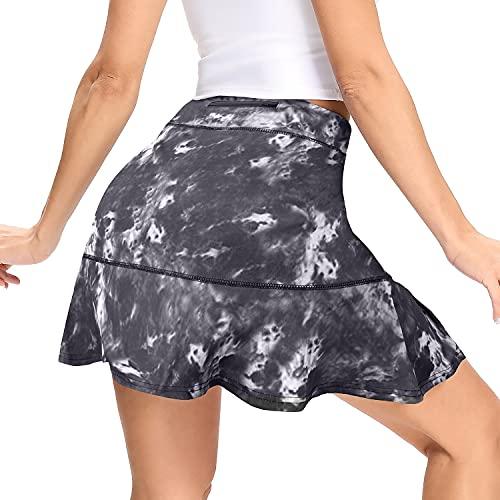 WOWENY Falda Pantalon Mujer Deporte Falda Padel Mujer Cortas con Bolsillos 2 En 1 Falda Deportiva Skorts Golf PlisadaRespirable para Caminata de Bádminton Verano (Negro, XXL)