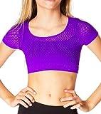Malibu Sugar Short Sleeve Mesh Crop Top for Girls (Size 7-14) Stretchy Seamless Dance Attire Neon Purple