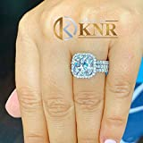 Large 14K Solid White Gold Cushion and Round Cut Simulated Diamonds Engagement Ring And Two Bands Set Halo Prong Set Wedding Bridal 7.00ct