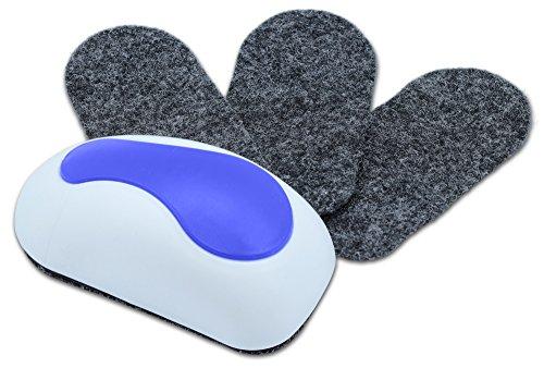 Nekava Tafelwischer mit 3 Ersatzfilze reinigt Whiteboards, Magnettafeln, Flipcharts, Kreidetafeln und Memoboards, abziehbare & selbstklebende Filze sorgen für eine langfristige Nutzungsdauer