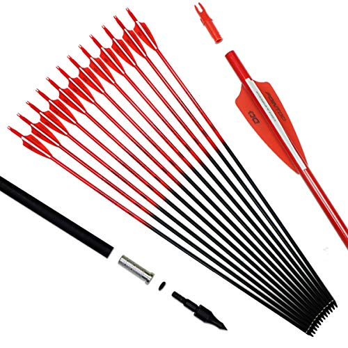 Pointdo 30inch Carbon Arrow Fluorescence Color Targeting and Hunting Practice Arrows for Recurve and Compound Bow with Removable Tips (Fluorescein Red)