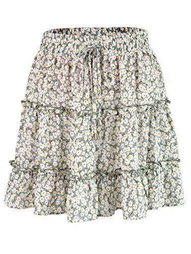 Anna-Kaci Women's Boho Floral Printed High Waist Ruffle Flared Mini Skater Skirt, Green, Large