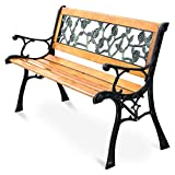 Giantex 50'' Patio Park Garden Bench, Outdoor Furniture Rose Cast Iron Hardwood Frame Porch Loveseat for 2 Person Outdoor Clearance