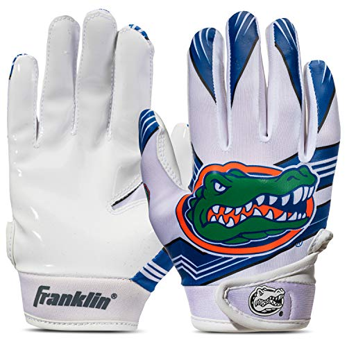 Franklin Sports Florida Gators Youth College Football Receiver Gloves - Receiver Gloves for Kids - NCAA Team Logos and Silicone Palm - Youth S/XS Pair