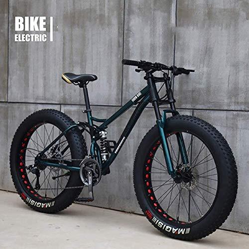 Vélo VTT Haut, Fat Wheel Moto/Fat Bike/Fat Tire Mountain Bike, Beach Cruiser Fat Tire Bike Snow Bike Fat Big Tire Bicycle 21 Speed,Marron,26IN