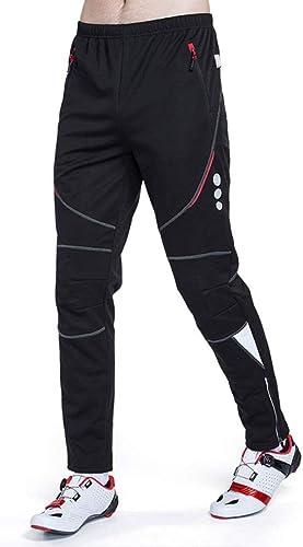 Yspbagues Pantalons de vélo pour hommes Collants de vélo de route rembourrés 4D VTT Leggings Plein air Vélo Cyclisme Porter des vêteHommests d'hiver Coupe-vent en molleton thermique Pantalon de vélo Homme