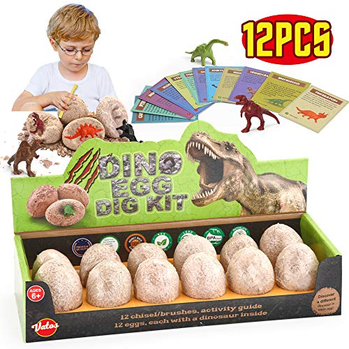 VATOS Huevos de Dinosaurio de Kit de Excavación Paquete de 12, Descubre 12 Dinosaurios Diferentes, Fiesta de Pascua de Juguete Stem Juguetes Educativos para Niños de 6-9 Años Regalo de Niños Niñas