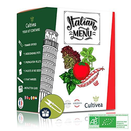 Cultivea World - Italian Menu - Anzuchtset -100{99d6c1aea534588613304cdc4d1cd237692da6027e5920725b8b02b0b407d38a} Bio Samen – Garten und Gemüse – Geschenkidee (Big Borlotto Bohne, Napoli Tomate, Oregano, Lollo Rossa Salat, Basilikum)