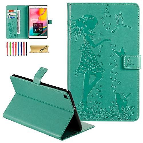 Galaxy Tab A 8.0 inch Case, T290 Case, Dteck Slim Embossed PU Leather Folio Smart Stand Wallet Cover for Samsung Galaxy Tab A 8.0 inch 2019 Release Model T290 T295 T297 Without S Pen, Green