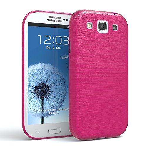 EAZY CASE Hülle kompatibel mit Samsung Galaxy S3 / S3 Neo Schutzhülle Silikon, gebürstet, Slimcover in Edelstahl Optik, Handyhülle, TPU Hülle/Soft Hülle, Backcover, Silikonhülle Brushed, Pink