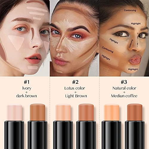 [3PCS]Erinde 6 Colors Portable Contour Stick Makeup, Concealer Stick and Cream Highlighter Stick 3 in 1 for Facial 3D Contour Repair, Eye Brightener Stick, Double-Head Body Makeup Shading Foundation