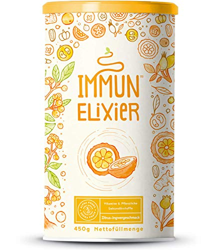 Immun-Elixier | Phyto-Pulver | Vitamin C aus Acerola, Kurkuma, Zitrus-Bioflavonoiden, Selen, Zink, Camu Camu, Holunder, Echinacea | Mit Quercetin & NAC | 450 Gramm