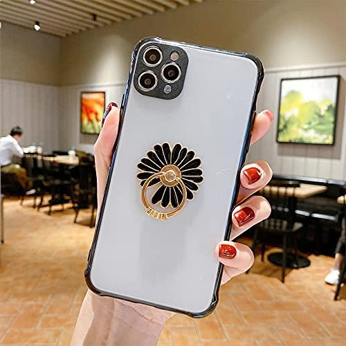 FQSCX Funda para iPhone a Prueba de Golpes Anillo de Diamante con Soporte para teléfono Mate Transparente para iPhone 12 Se 2020 11 11Pro XS MAX XR XS X 6S 7 8 Plus Funda de Parachoques Foriphone8Pl