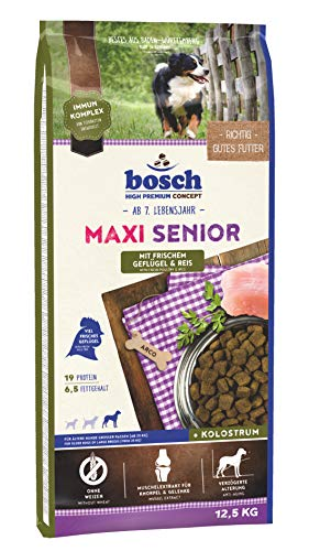 Bosch HPC Maxi senior met vers gevogelte & rijst | droog hondenvoer voor oudere honden grote rassen (vanaf 25 kg), 1 x 12.5 kg