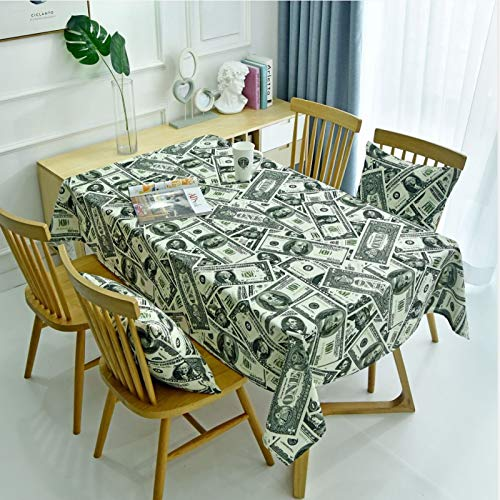 WSJIABIN Home Decoration Tablecloth Modern Personality Retro Dollar European and American Style Money Cloth Art Coffee Table Tablecloth Table Mat Bar Restaurant Waterproof Tablecloth