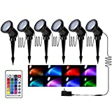 ZODIC Multi-Color & Adjustable Landscape Lights, 36 LED IP65 Waterproof RGB Spotlights with Spiked Stand for Garden Decoration-Set of 6