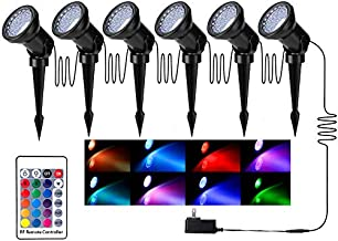 Colored Garden Spotlights, Outdoor Waterproof IP66 36 LED RGB Adjustable RF Remote Controlled Spot Lights with Spiked Stand for Outdoor Garden House Decoration - Set of 6