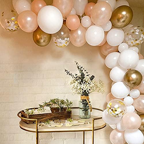 MMTX Luftballons Girlande, Rosegold Weiß Ballon Girlande Set, Metall Konfetti Ballons, 5m Ballonbogen Kit, Luftballons für Hochzeit Geburtstag Geburtstagsdeko Mädchen Taufe Baby Shower Party Deko